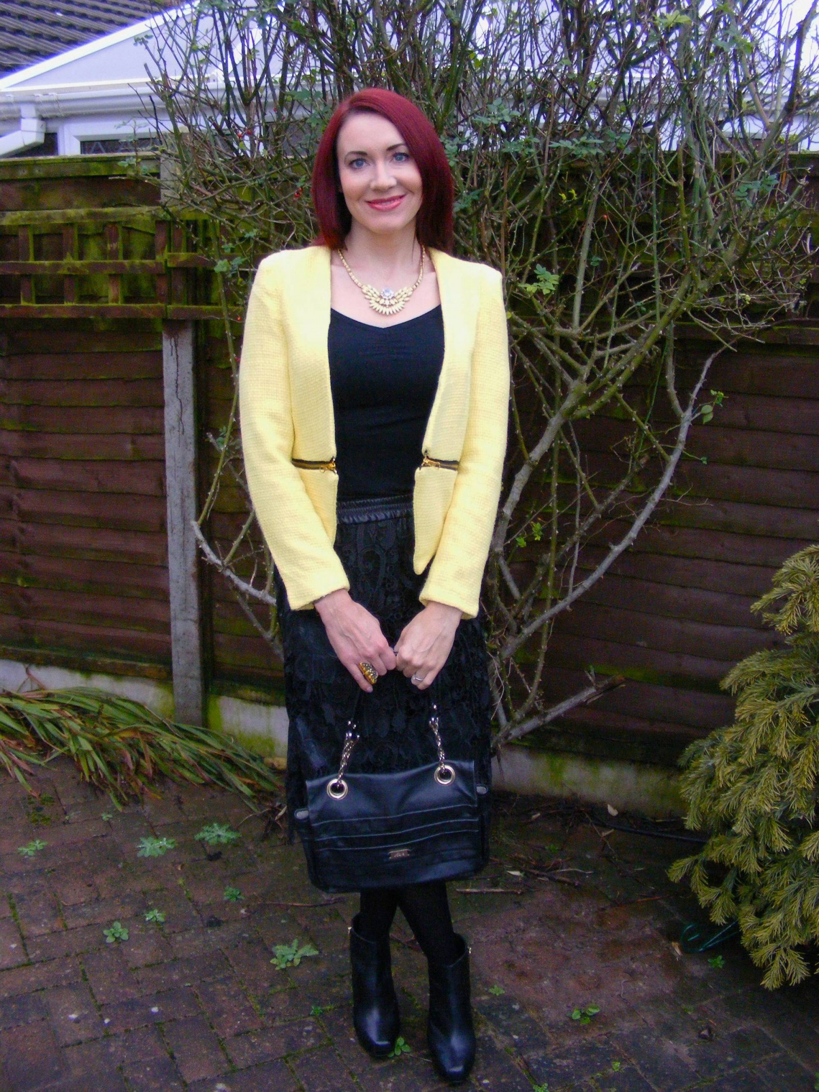 Lemon Yellow Boucle Jacket and Zara Lace Skirt
