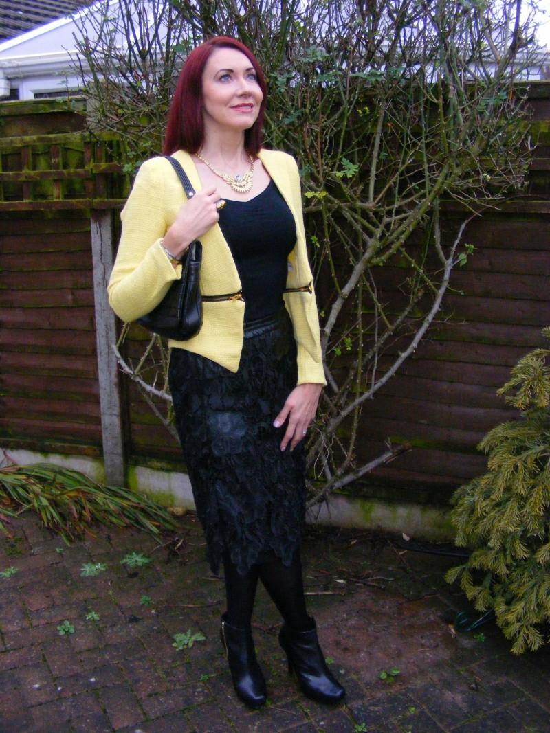 Yellow boucle jacket and black lace Zara skirt