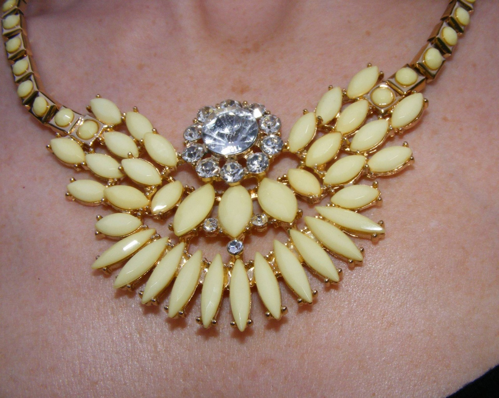 Yellow stone and diamante Matalan necklace
