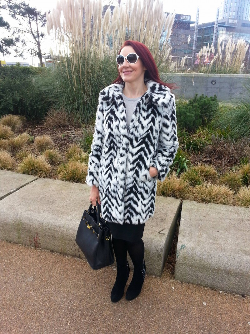 Marks and Spencer black and white faux fur coat