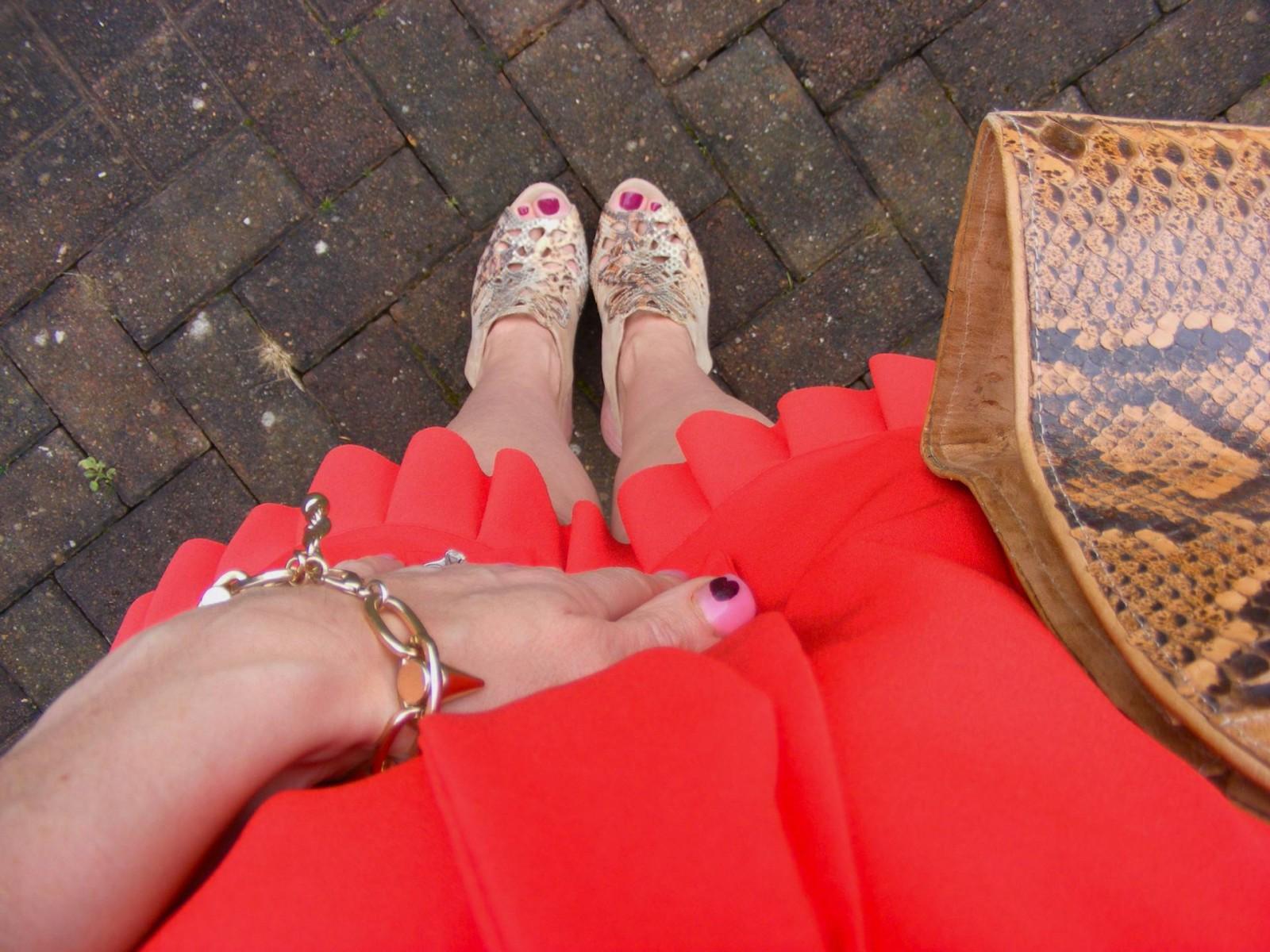 Menbur nude shoes and snakeskin bag