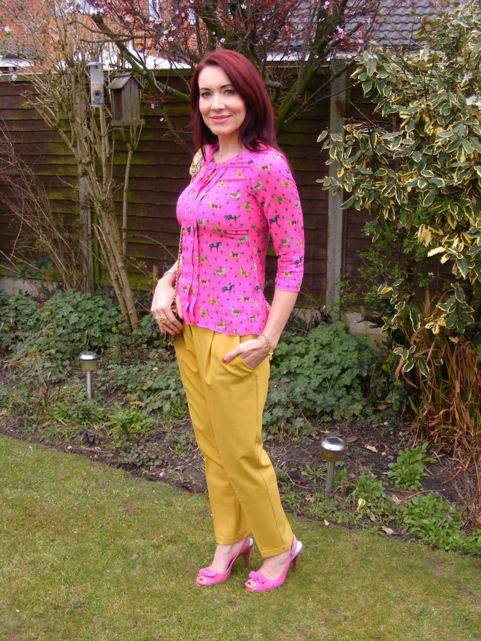 Asos mustard trousers pink blouse