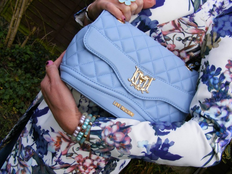 Love Moschino pale blue leather bag