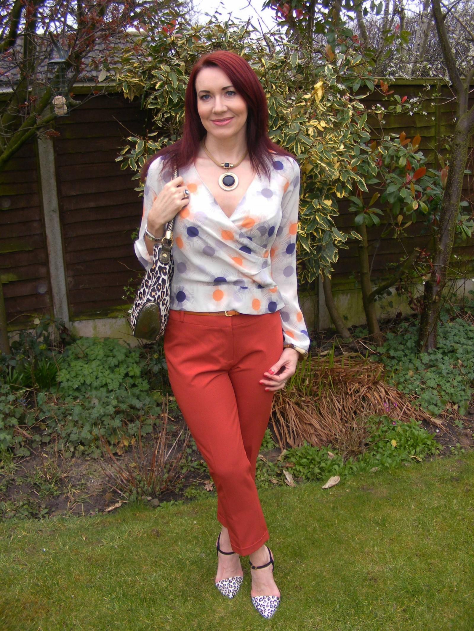 Reiss blouse Dorothy Perkins orange crop trousers