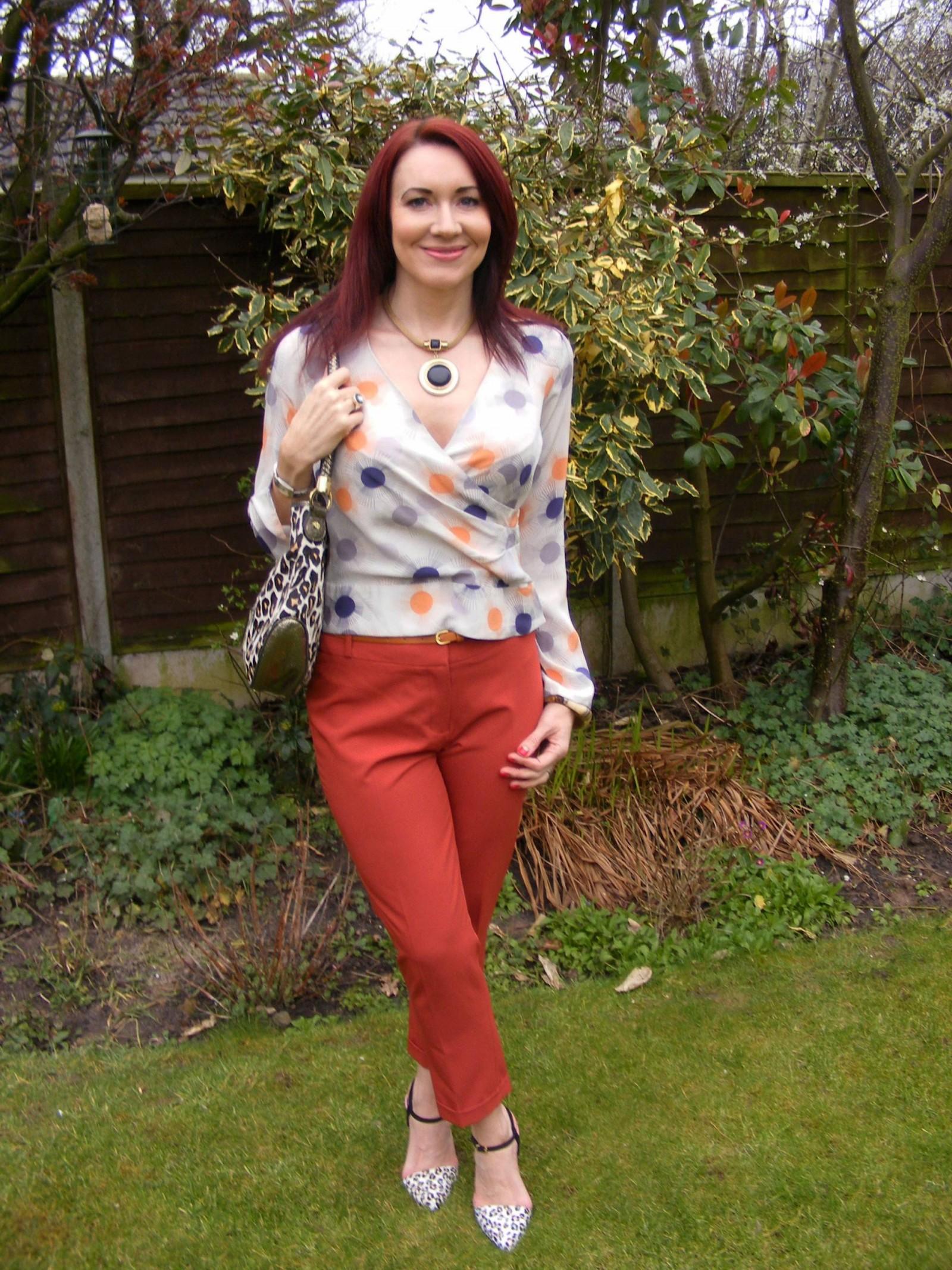 Reiss silk blouse Dorothy Perkins burnt orange trousers