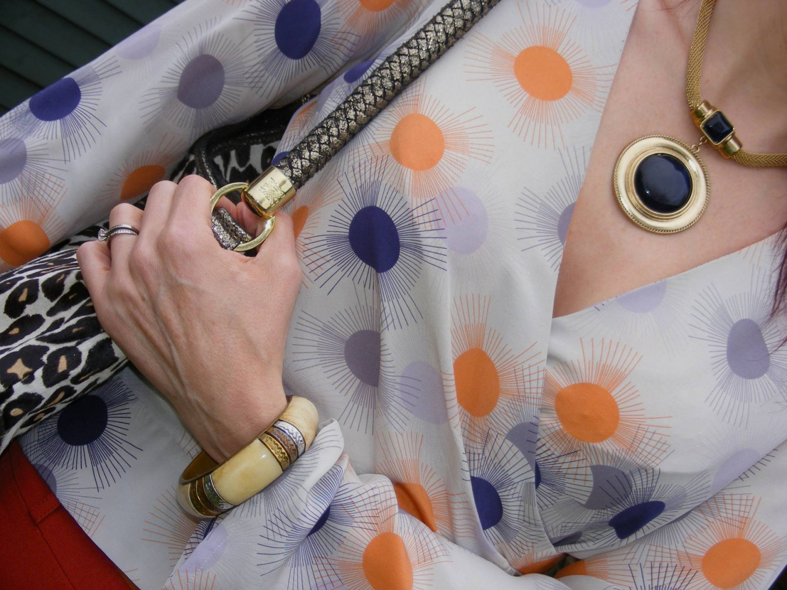 Reiss faux wrap blouse, Biba leopard print handbag