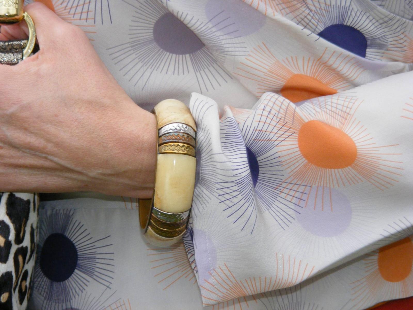 Reiss silk blouse wooden bangle