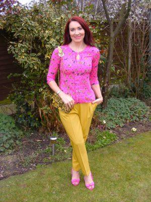mustard Asos trousers pink blouse