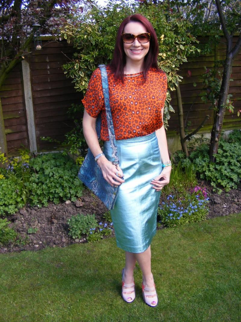 Biba leopard print top Marks and Spencer metallic leather skirt