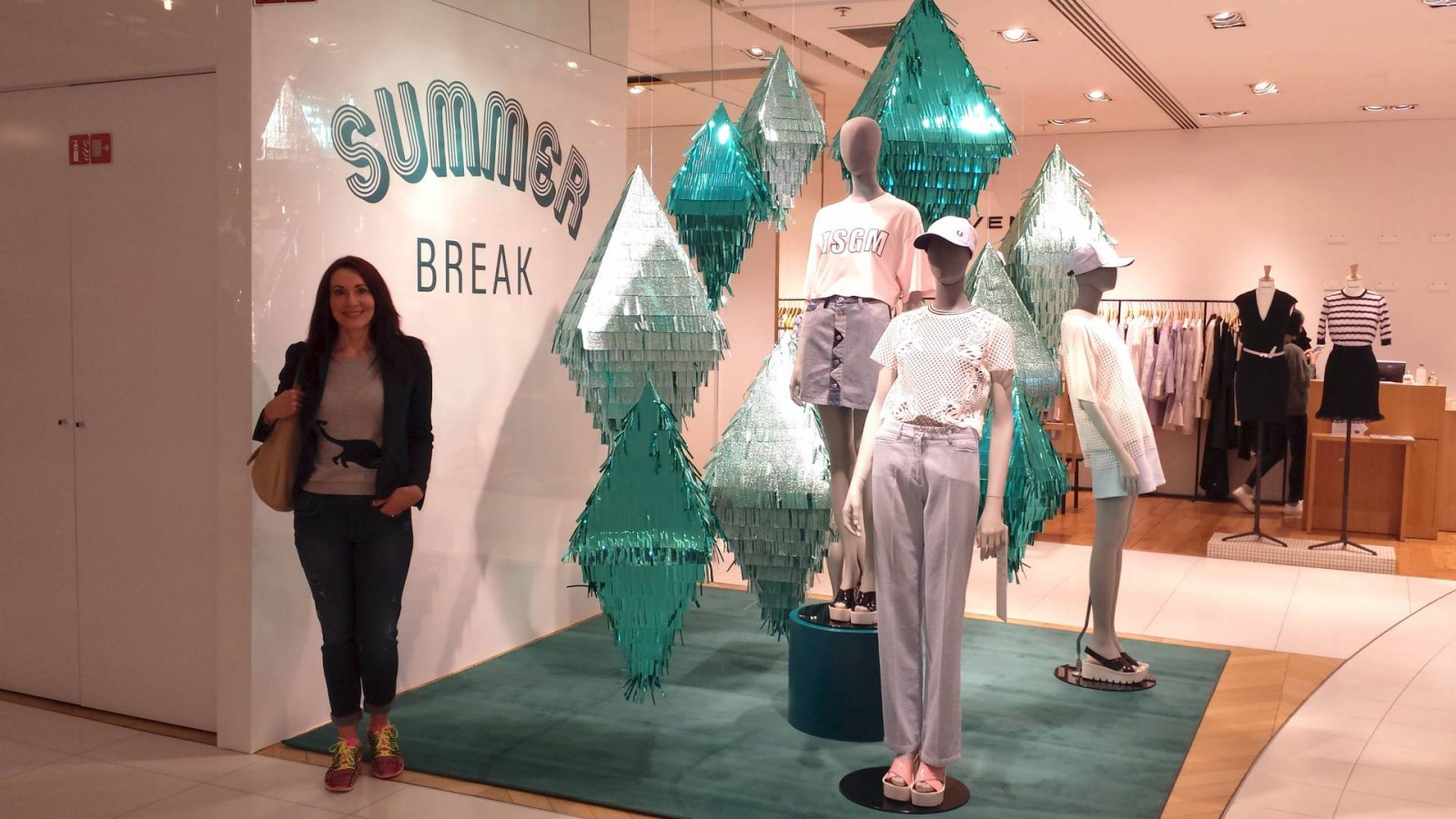 Galeries Lafayette store display, Zara jacket Gap jeans