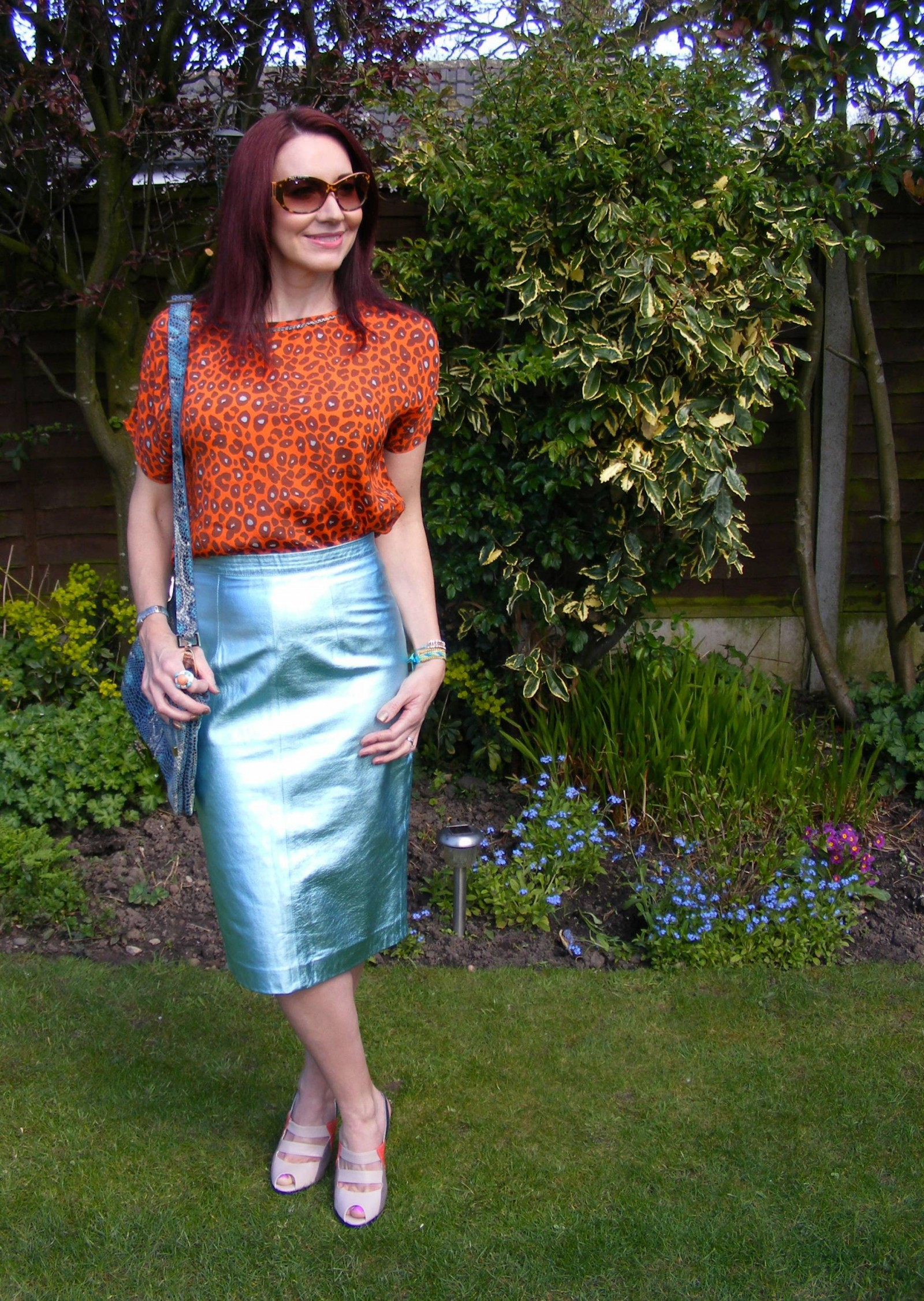 Marks and Spencer leather metallic skirt Biba leopard print top