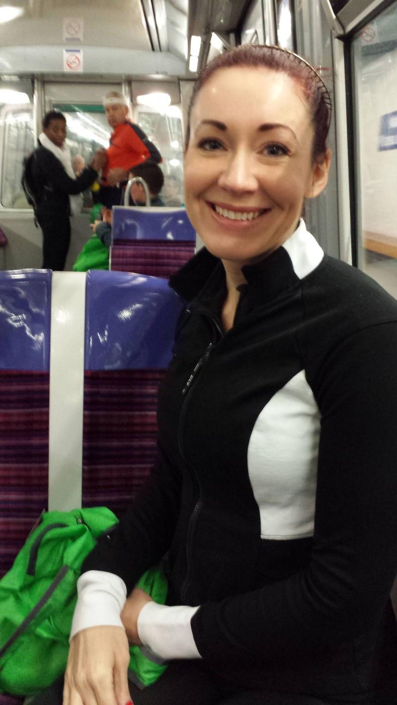 Paris metro on way to marathon