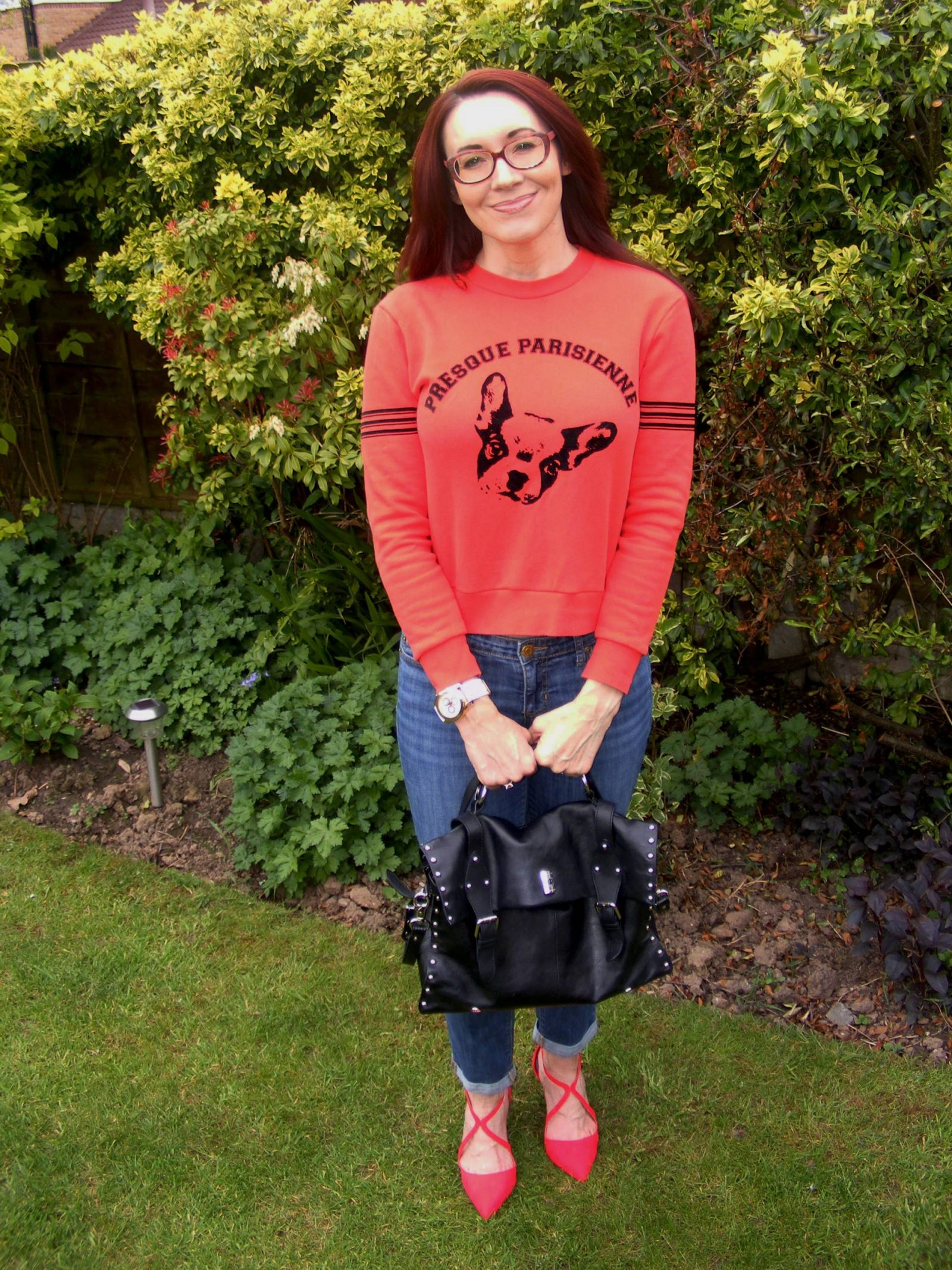 Firmoo glasses Etre Cecile red sweater