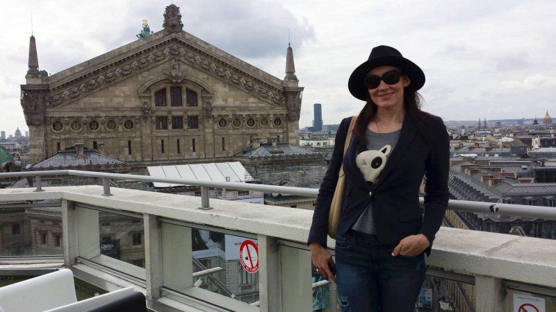 Zara jacket and hat Galeries Lafayette rooftop Opera Garnier