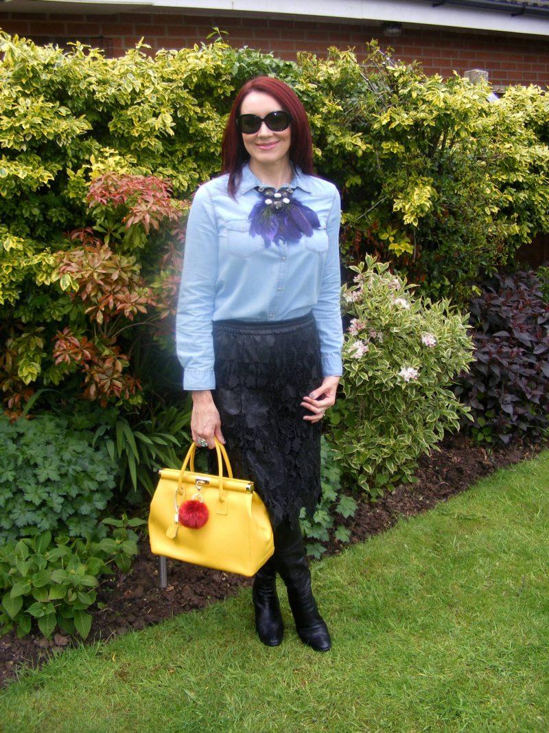 Zara lace skirt and chambray shirt