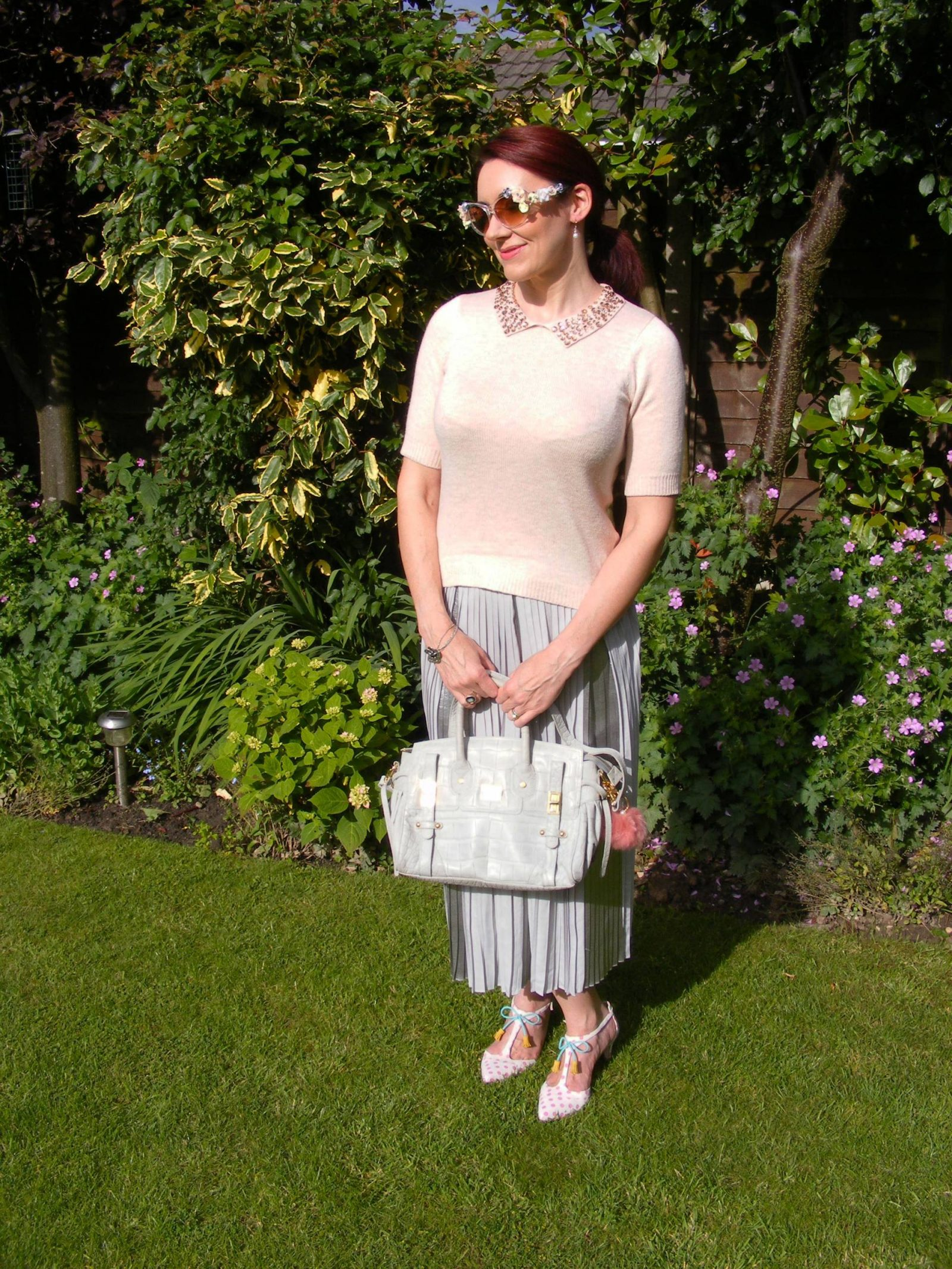 Asos grey pleated skirt and pink jewel jumper