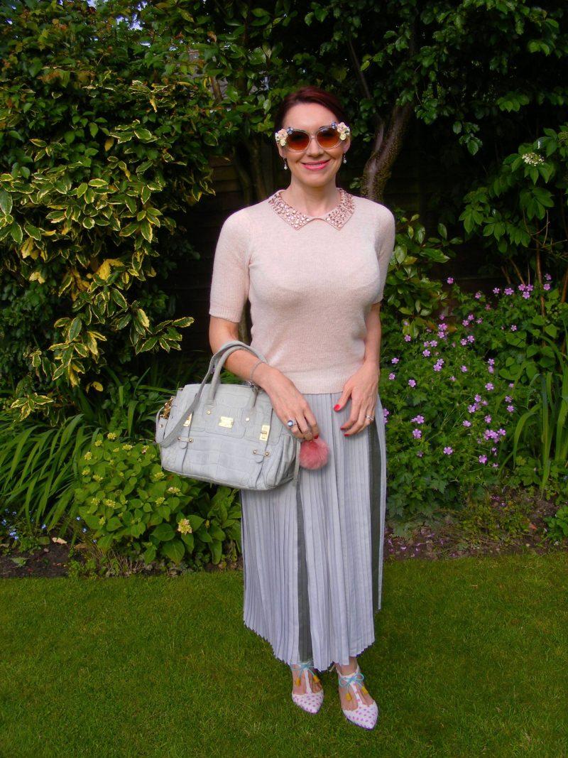 Grey pleated Asos skirt Dorothy Perkins pink jewel collar top