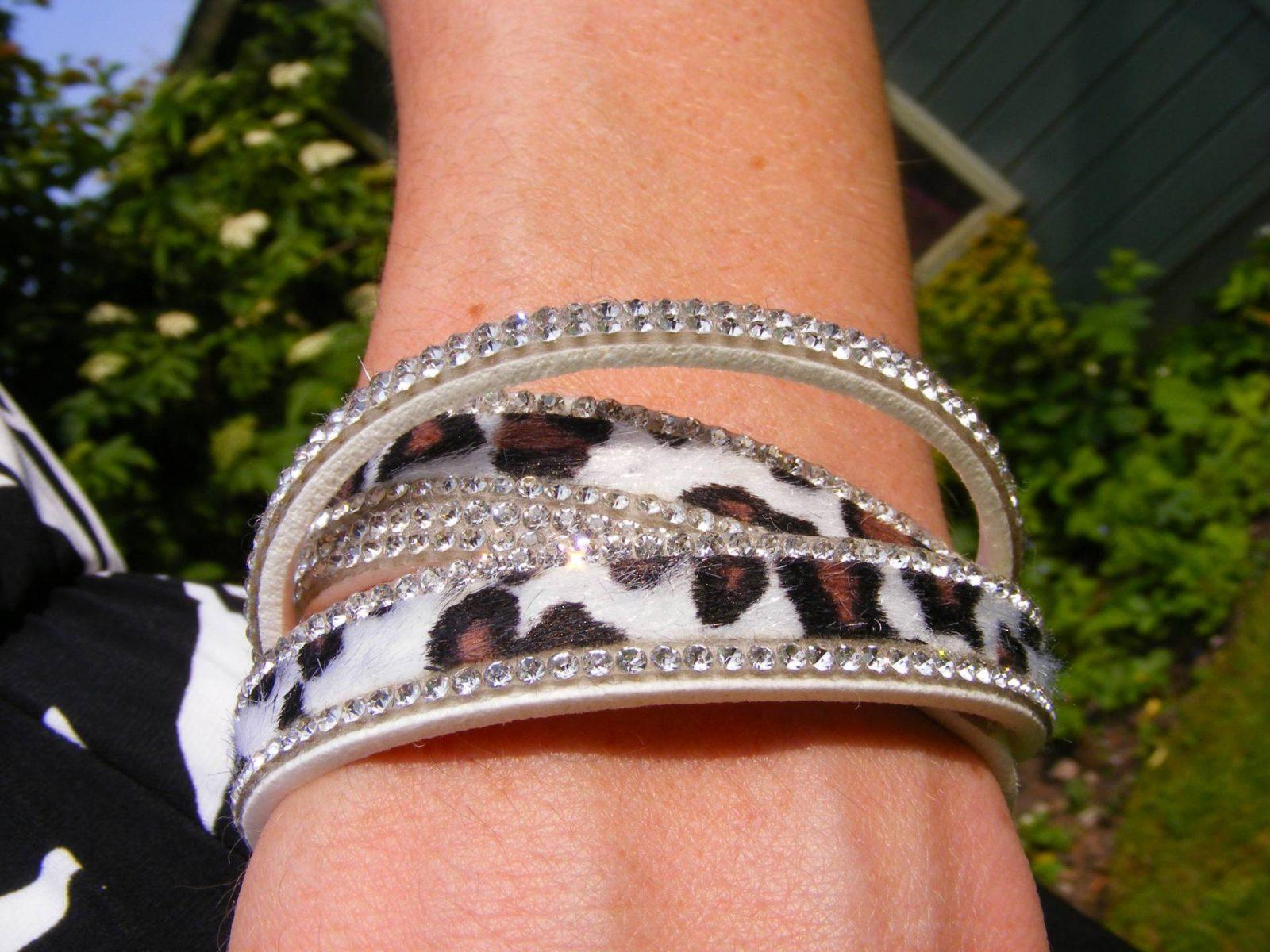 LizzyO white leopard print wraparound bracelet