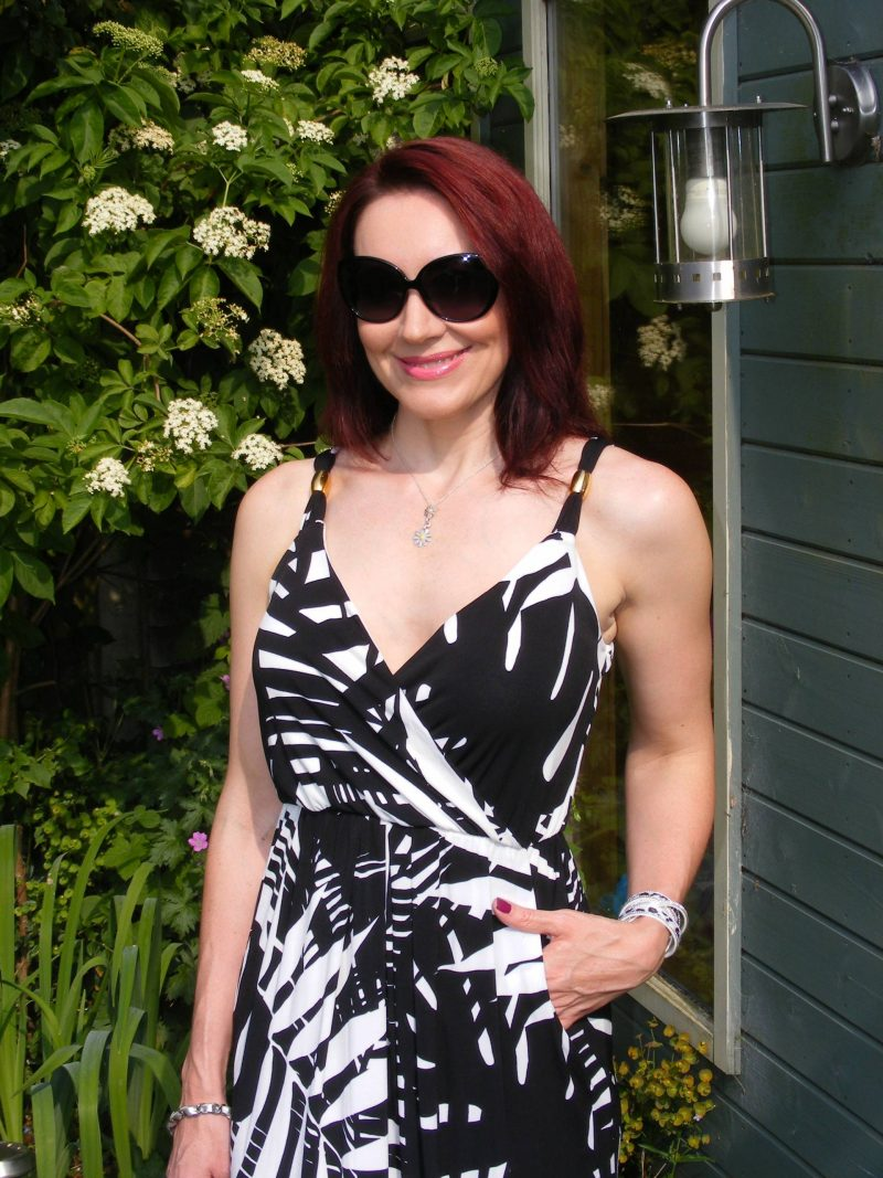 Lorraine Kelly JD Williams black and white maxi dress