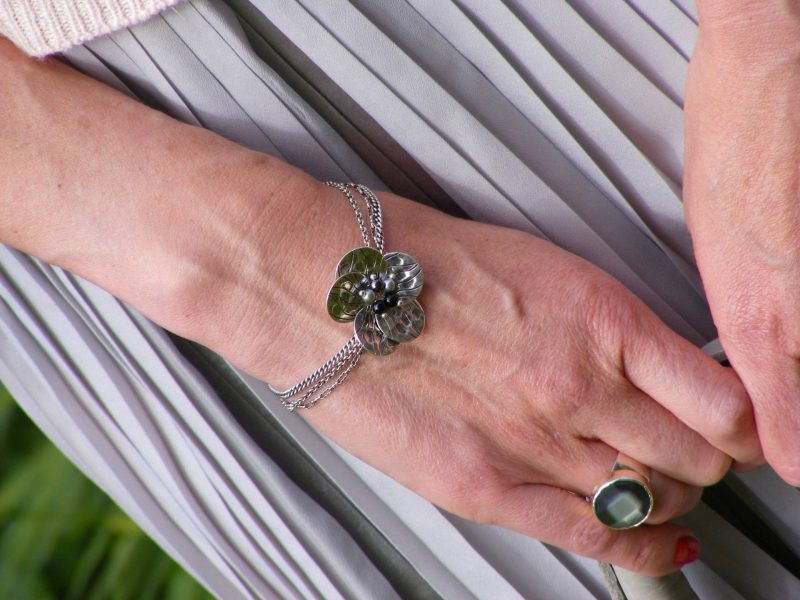 Pia mother of pearl ring silver flower bracelet