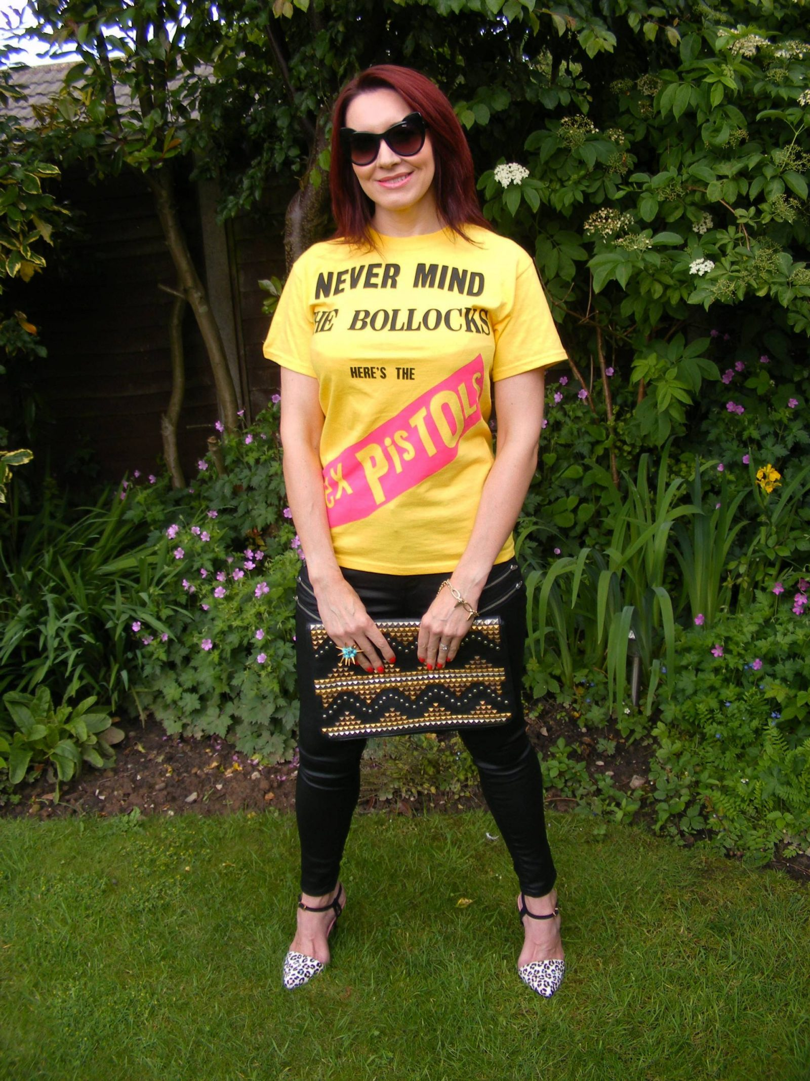 """Uptown Punk - Never Mind the """"Rules"""", Sex Pistols tee, Very coated black jeans, Asos studded clutch"""
