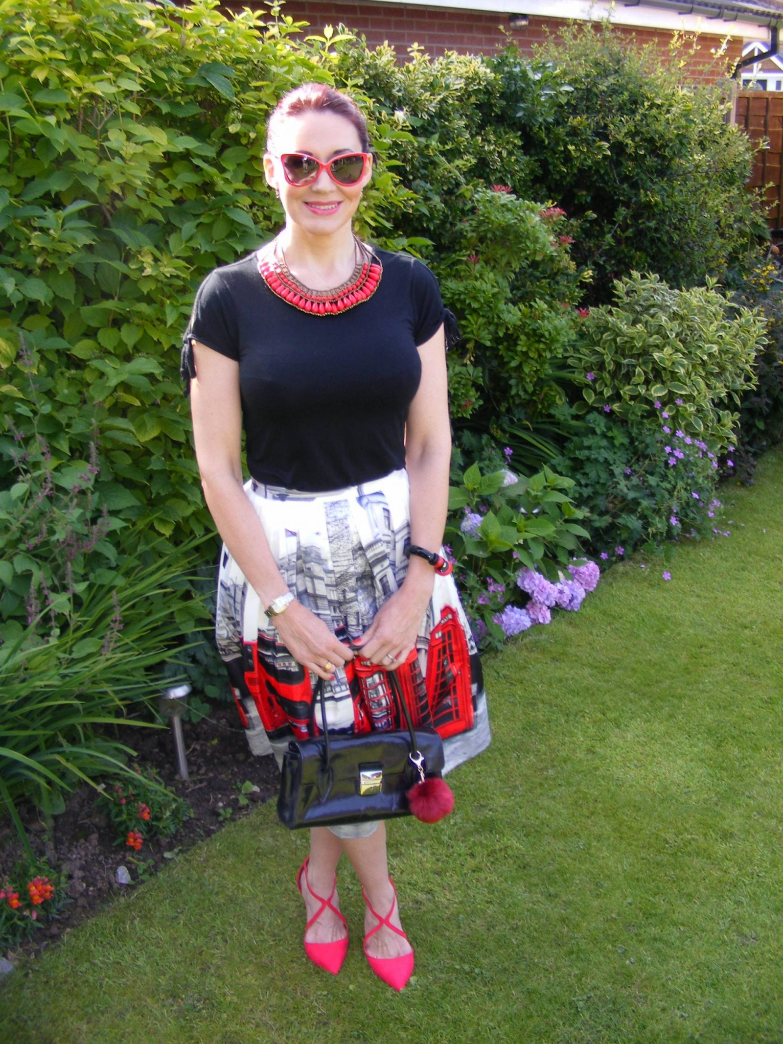 Phone Box Midi Skirt and Miss KG red shoes