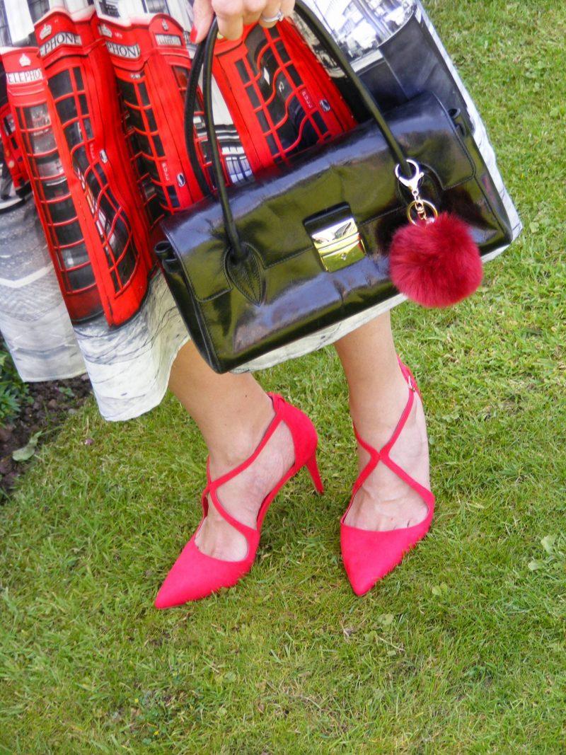 London Calling Chicwish phone box midi skirt Miss KG red shoes
