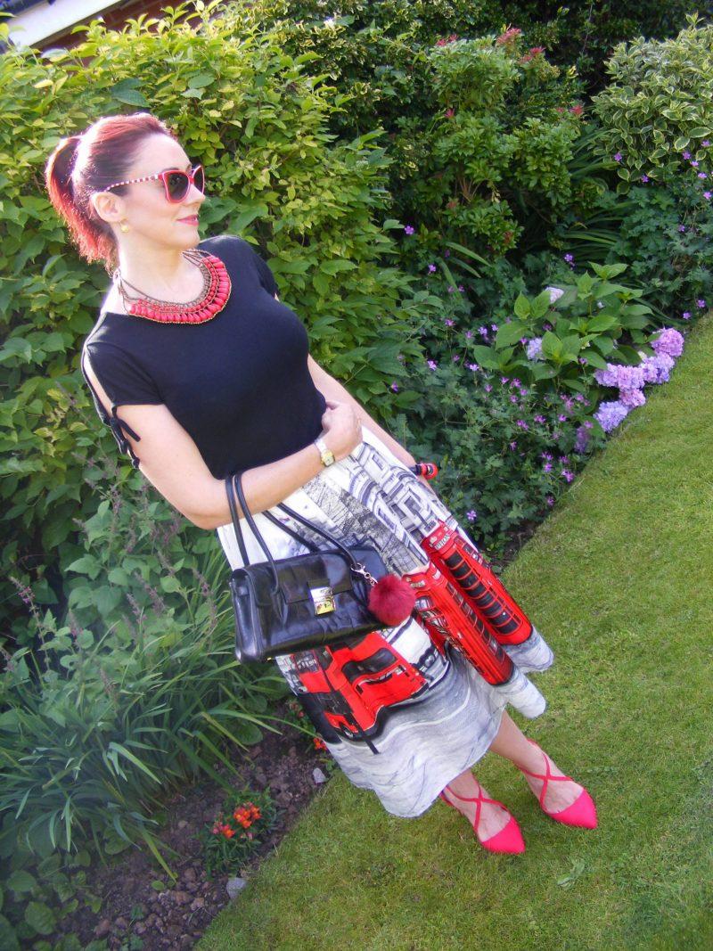 London Calling Chicwish red phonebox midi skirt