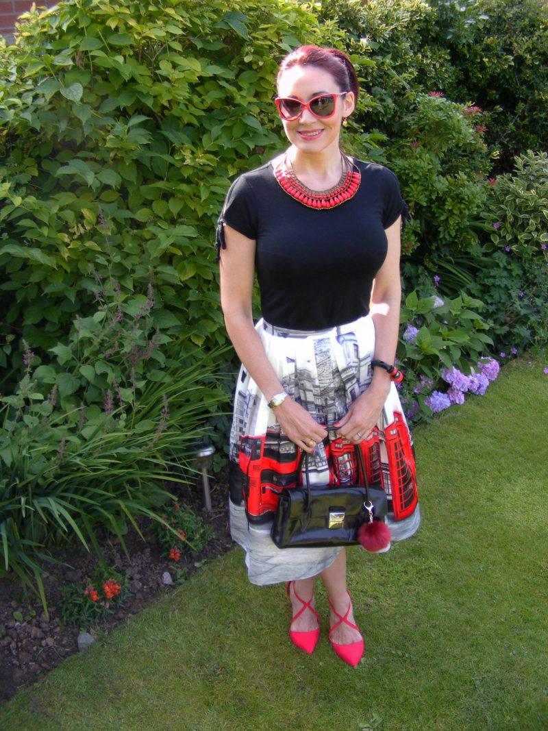 London Calling Chicwish red phone box midi skirt