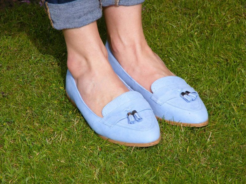 Shades of Blue With a Pop of Red Zara navy jacket Gap jeans HM sheer spot top M&S pale blue loafers