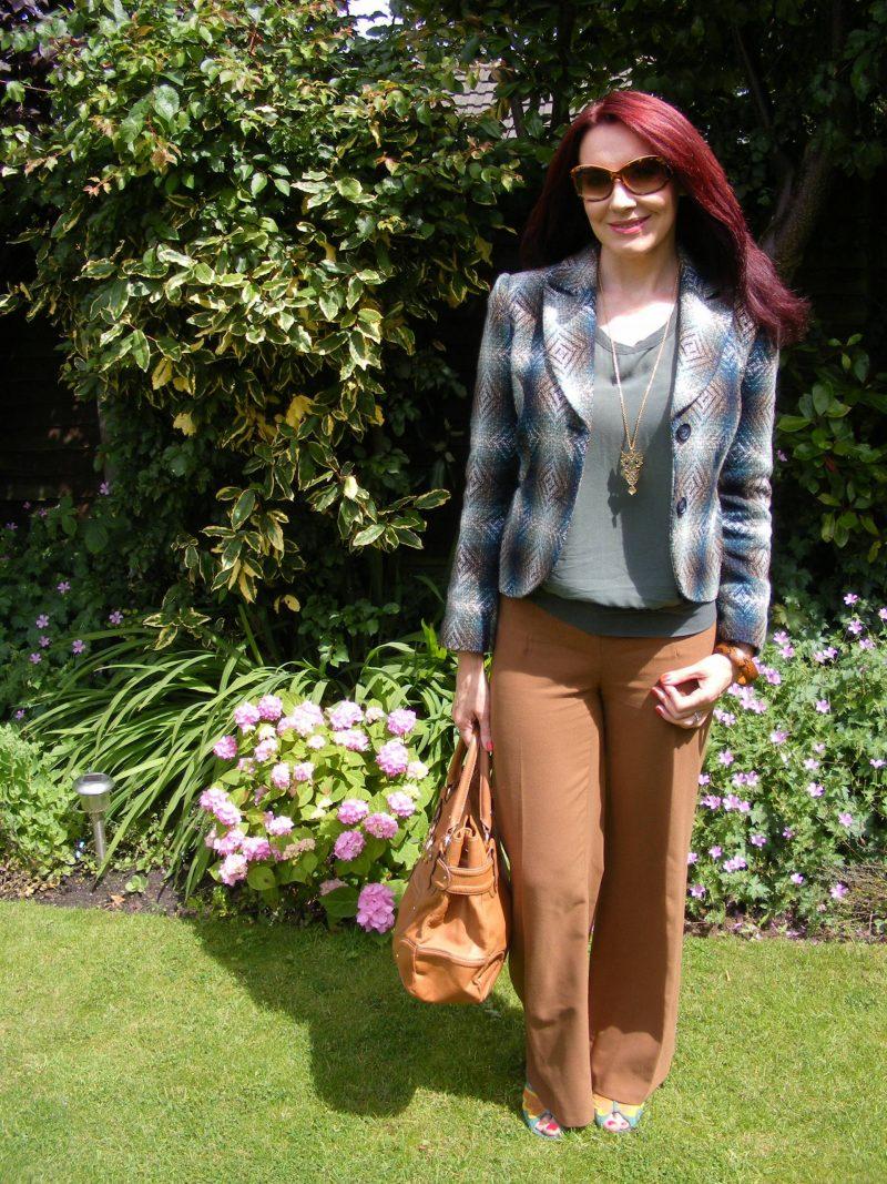 M&S tweed jacket James Perse silk top Asos brown trousers