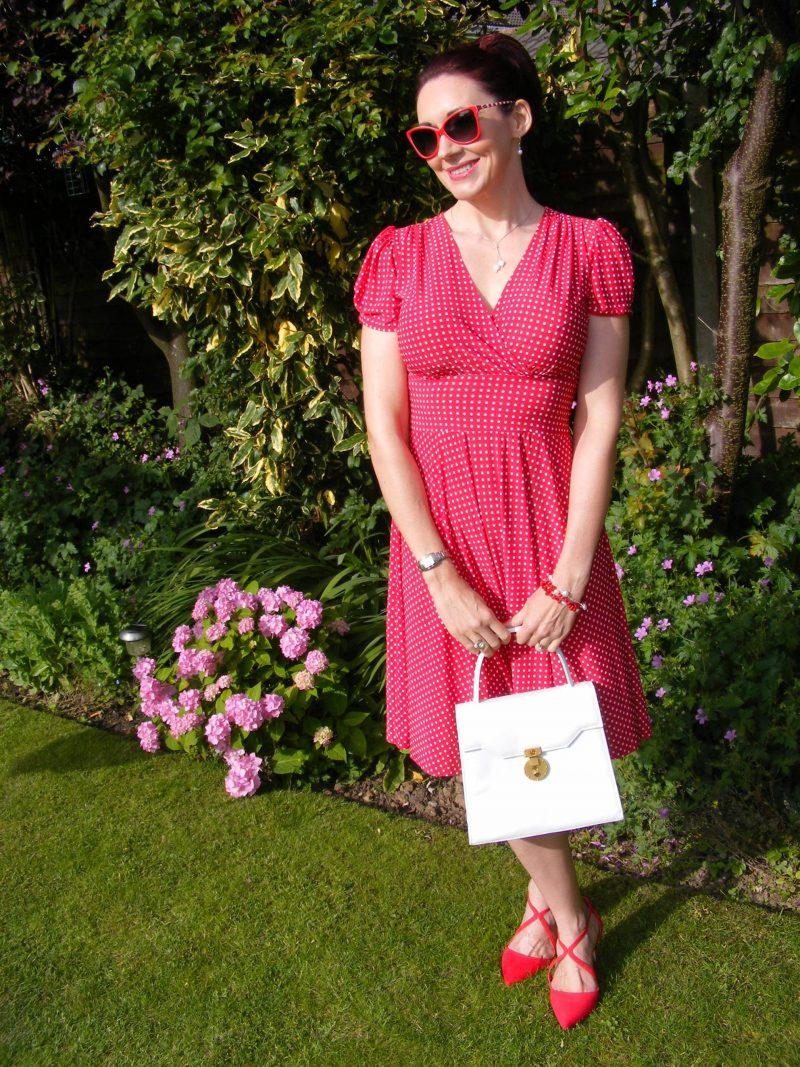 Megan Karina dress Miss KG red shoes