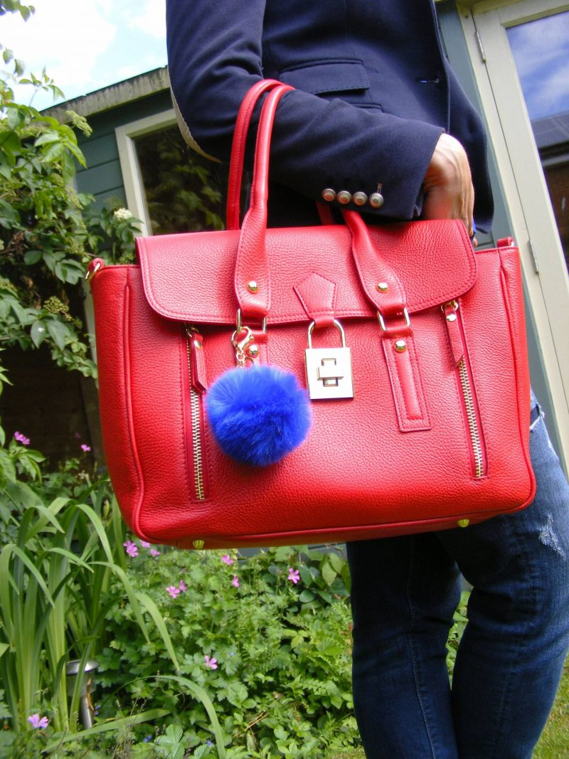 Shades of Blue and a Pop of Red Mila Blu red leather bag