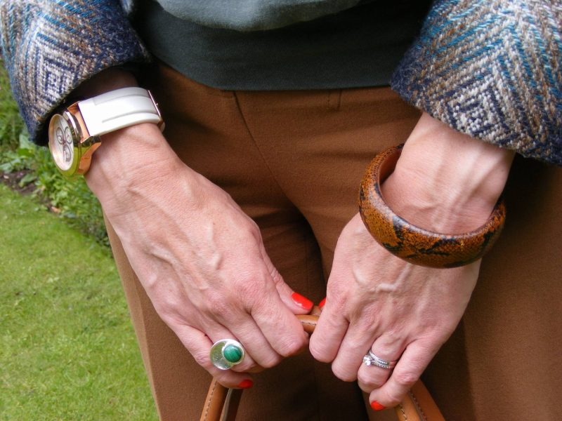 Pia silver malachite ring Asos brown trousers