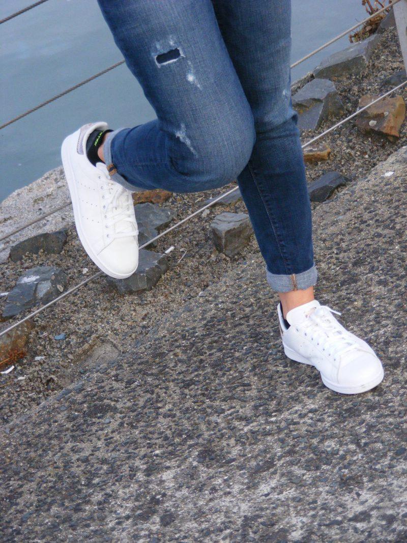 Adidas Stan Smith rose gold trim trainers Gap boyfriend jeans