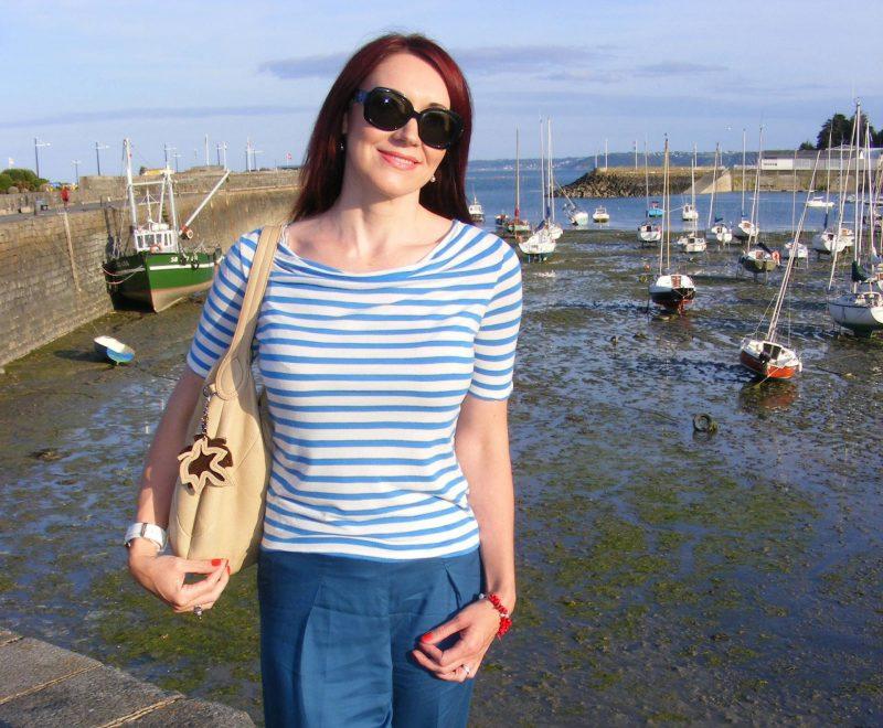 Asos blue wide leg trousers Monsoon Breton striped top