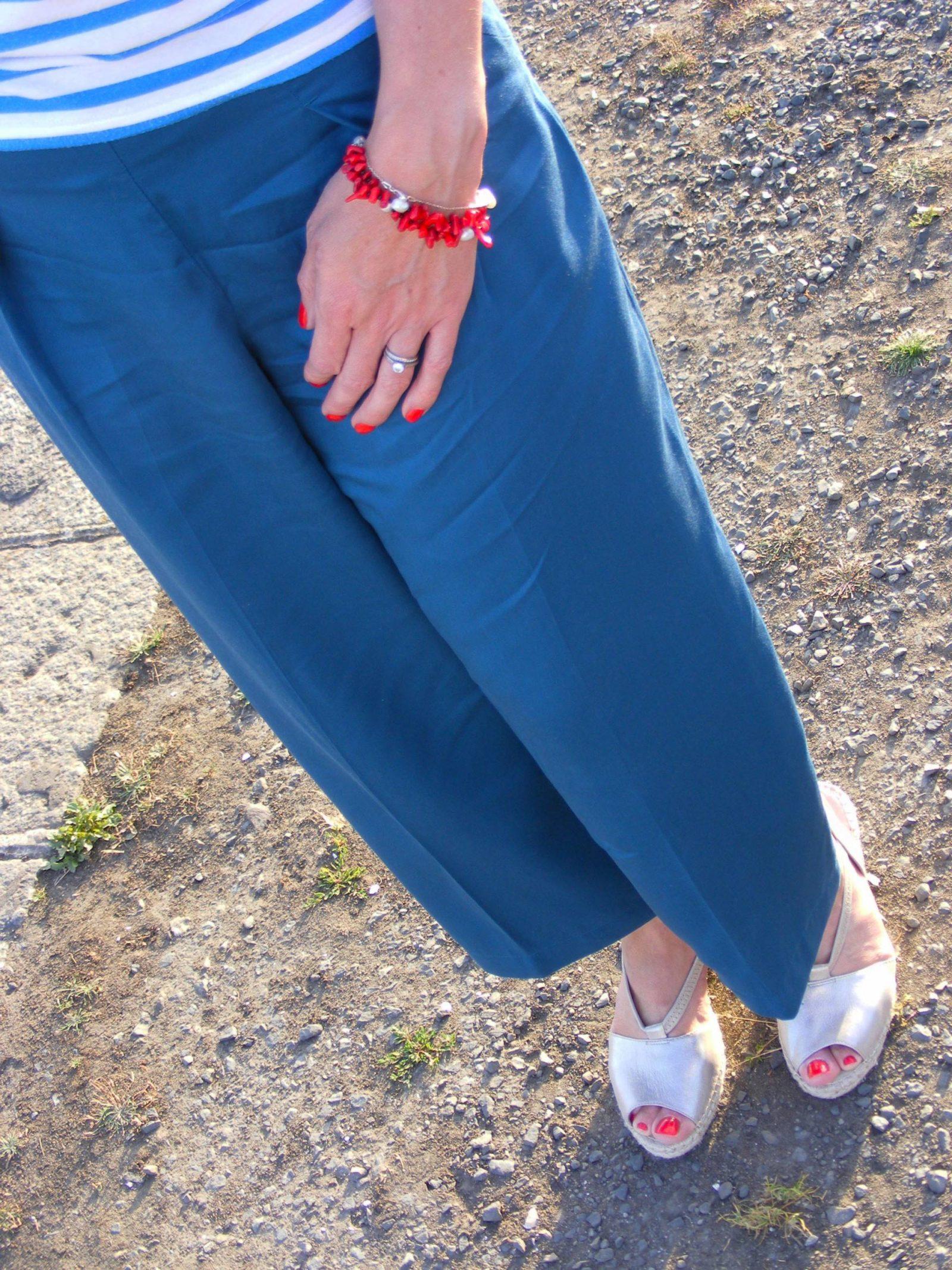 Breton Stripes and Asos Culottes Clarks gold espadrilles