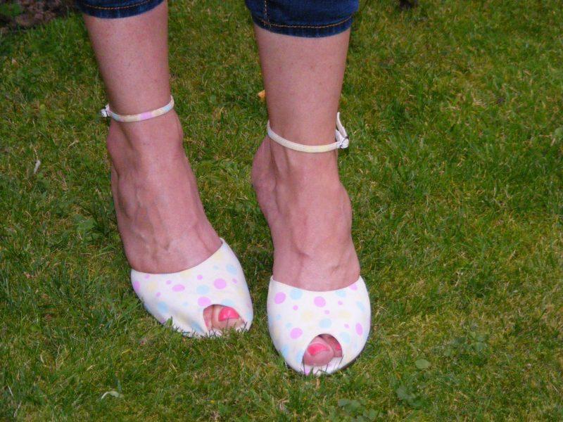 Debenhams spot wedge peep toe shoes