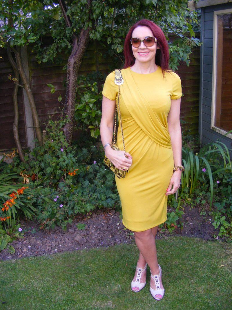 J Jasper Conran mustard drape dress