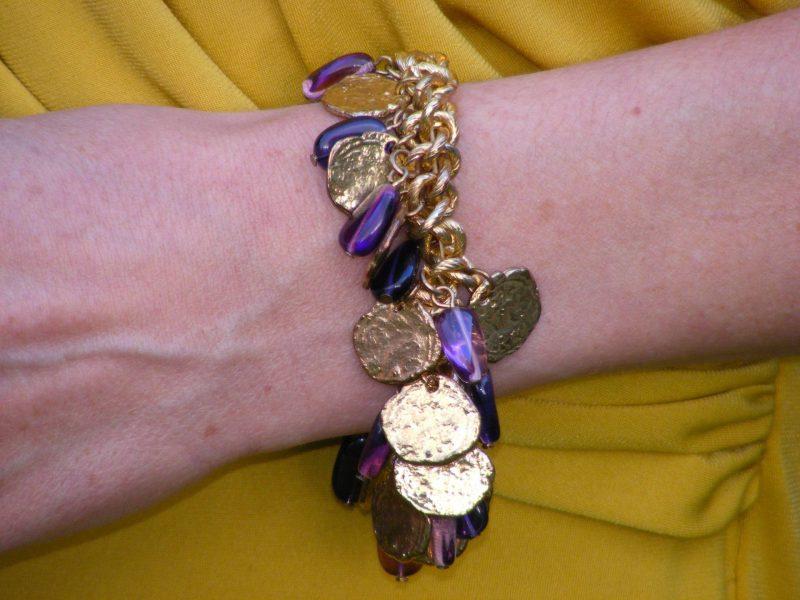 J Jasper Conran mustard dress gold charm bracelet