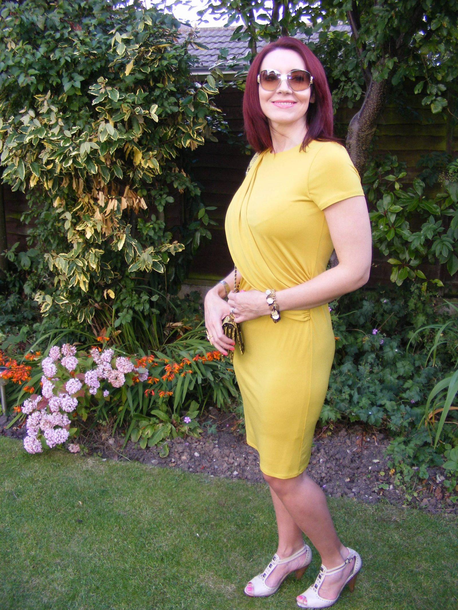 J by Jasper Conran mustard drape dress Angel Jackson snakeskin bag