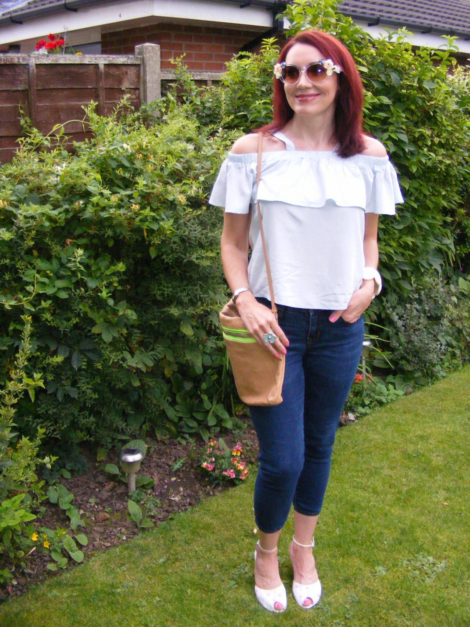 Pale blue Amy Lynn off the shoulder frill top