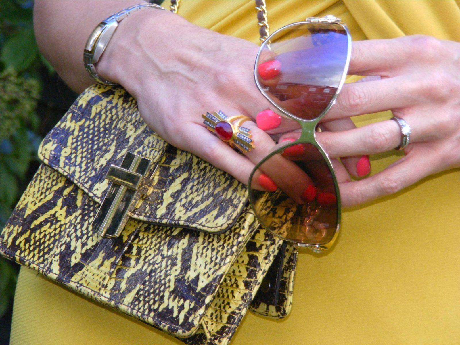 Roberto Cavalli shades J Jasper Conran mustard dress Kevia ring