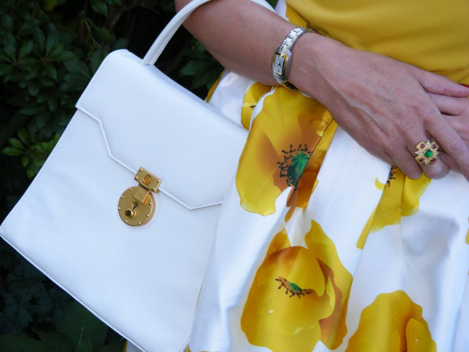 Michelangelo white leather bag Romwe RomweYellow Floral Print Skirt Jane Norman top