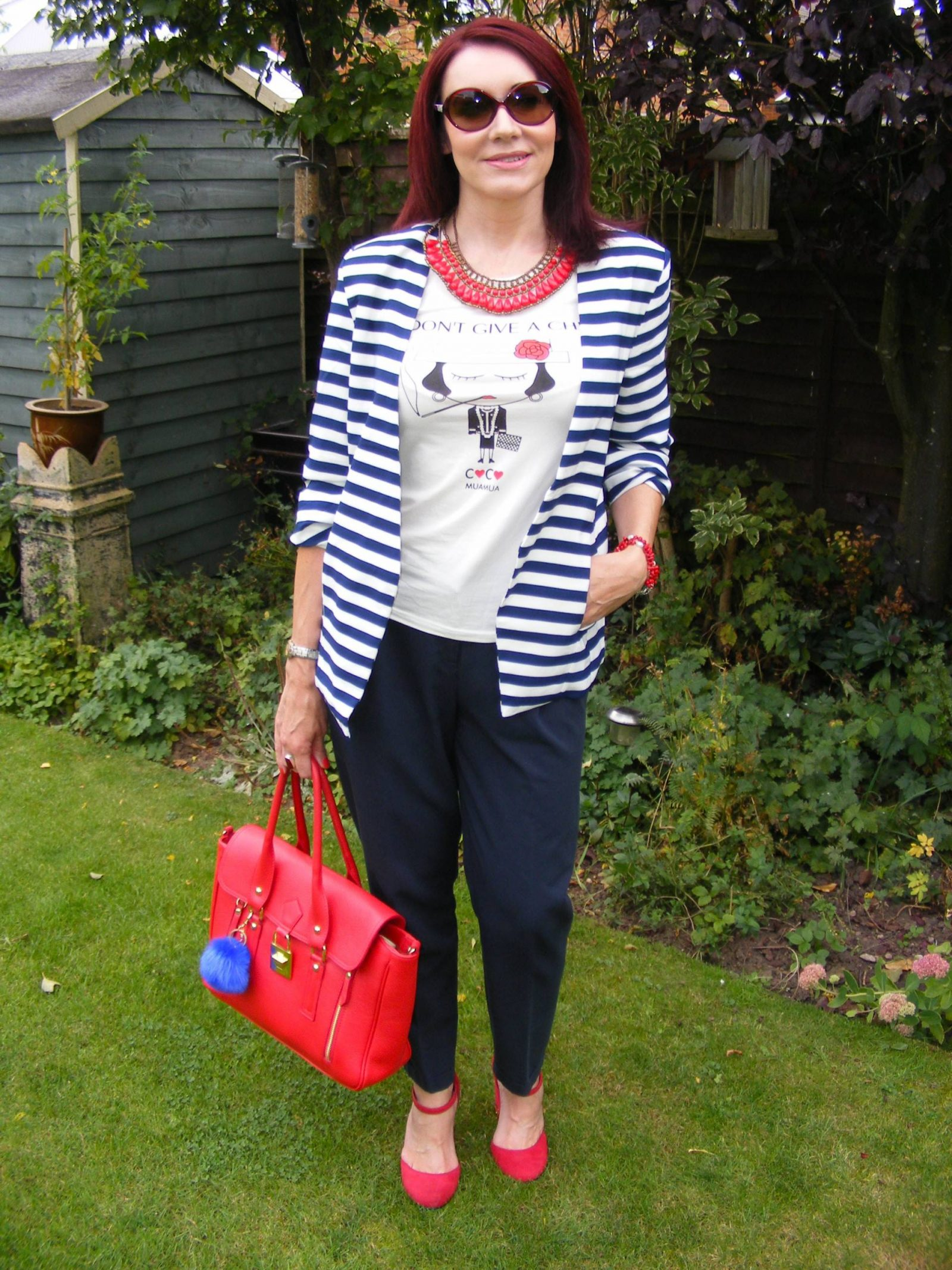 Navy and White Striped Jacket With Red Accents