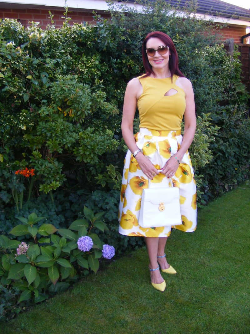 Romwe yellow flower flared midi skirt Jane Norman top