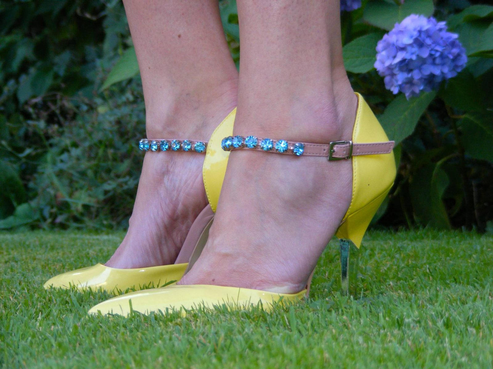 Yellow jewel strap Carvela shoes