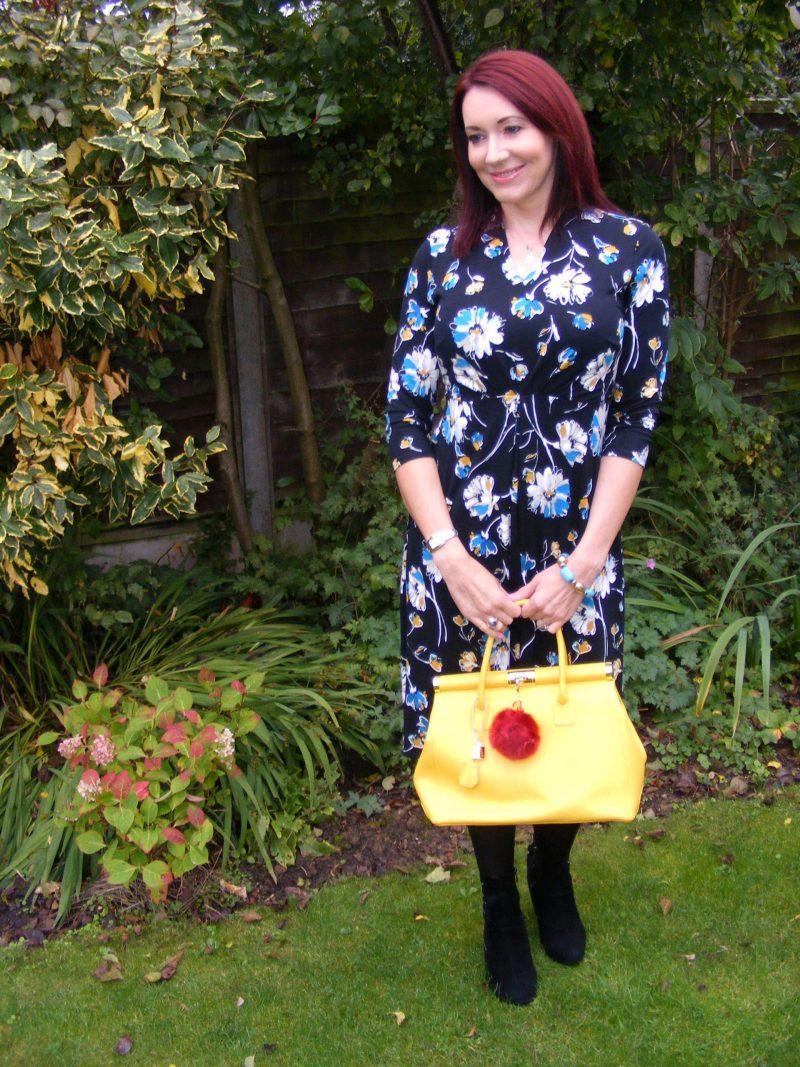 Bonmarche Floral Tea Dress yellow Bright bag