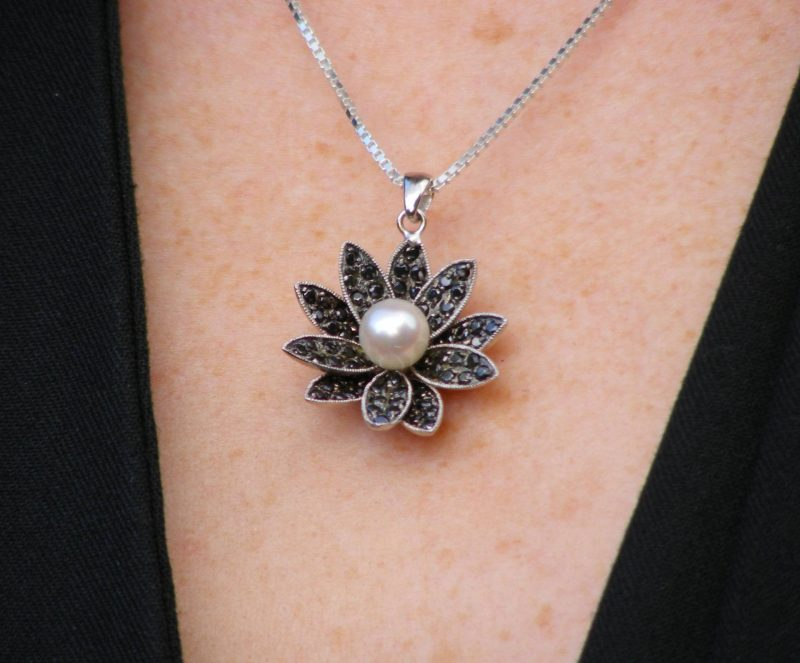 Eternal Collection Akoya Pearl and Black Cubic Zirconia necklace