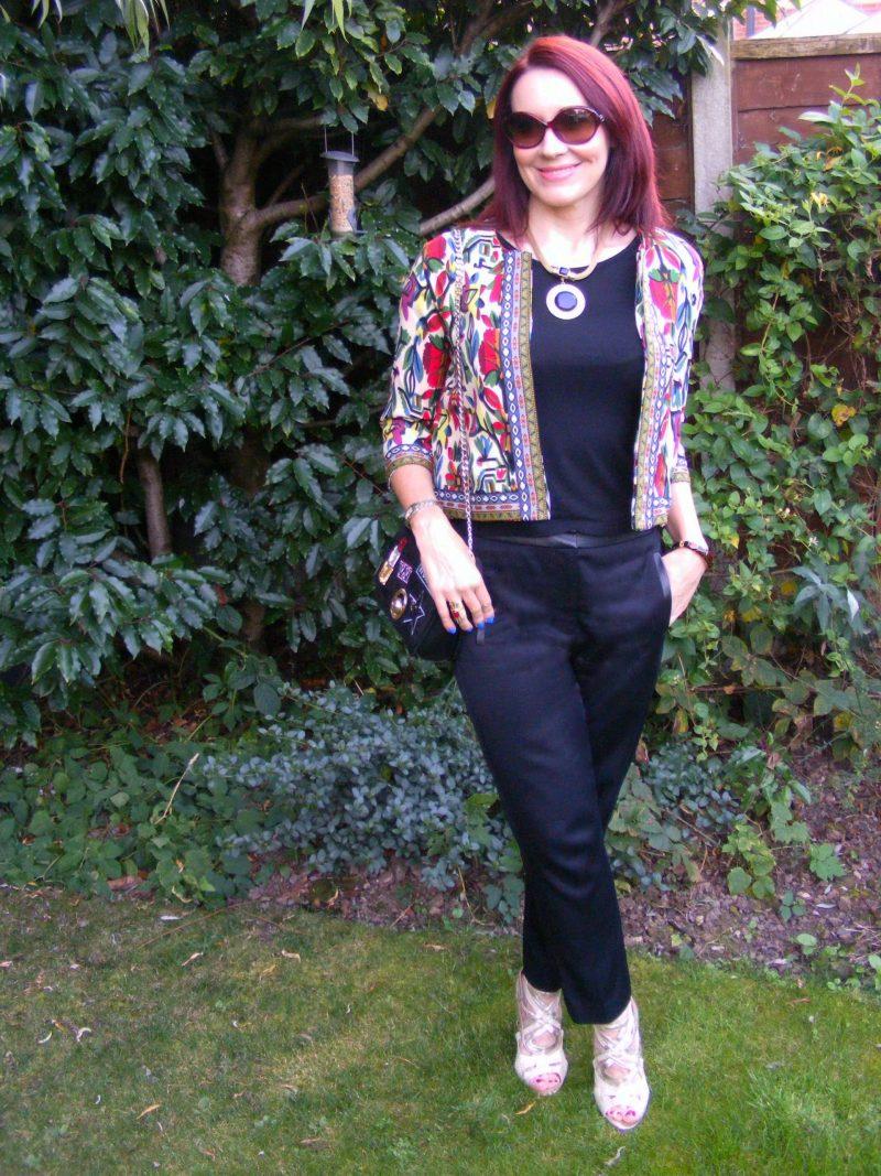 Shein tribal print jacket Tibi black trousers